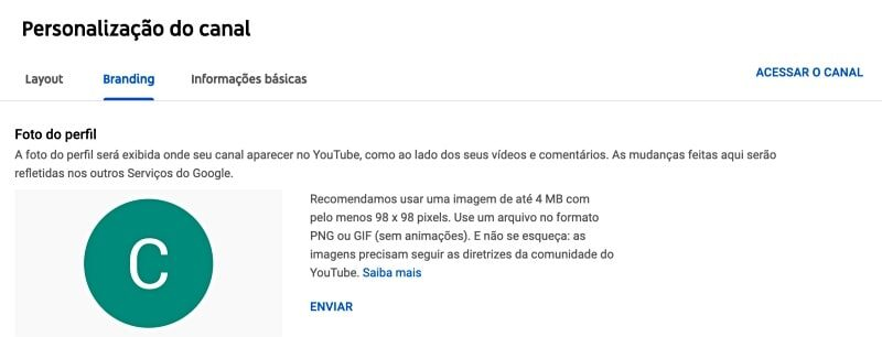 como personalizar canal do youtube